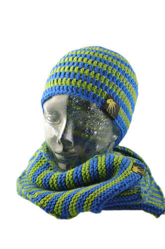 kallimari Set cool combination beanie and scarf blue-green and scarf ringed