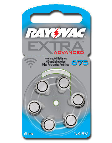 6 x  Rayovac Extra Advanced Hearing Aid Batteries Size  675 /  BLUE