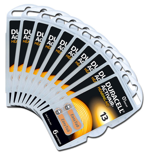 60 x Duracell Hearing Aid Batteries Size 13 / ORANGE