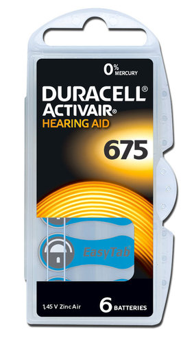 6 x Duracell Hearing Aid Batteries Size  675 /  BLUE