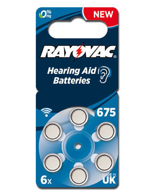 6 x Rayovac Acoustic Special Hearing Aid Batteries Size  675 /  BLUE