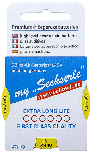 "6 x ""Sechserle"" Hearing Aid Batteries Size 10 / YELLOW in the Recyclingbox"