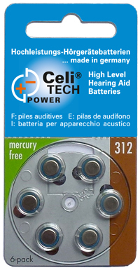6 x Celitech Power Hearing Aid Batteries Size 312 / BROWN