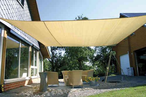 Sonnensegel 5 x 5 Meter -  Quadrat - Farbe beige