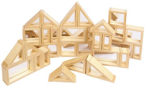 Spiegelblocks, groß, Bausteine Spiegel 31 Stück, Massivholz