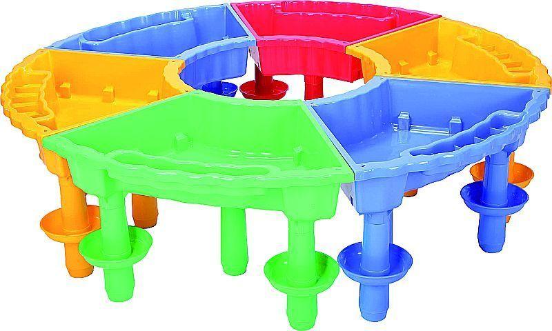 Sandtisch Matschtisch Wassertisch trapezförmig  mit Deckel - SET 6  Kreis SPARSET