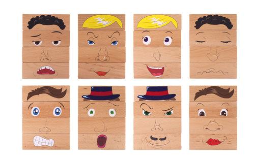 Emotionsbausteine Holz NEU - Gesichter 4000 verschiedene möglich