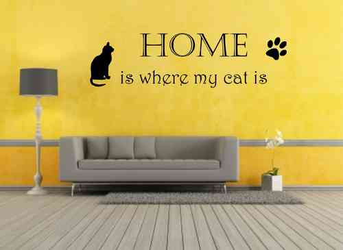 home is where my cat is mit Pfote und Katze