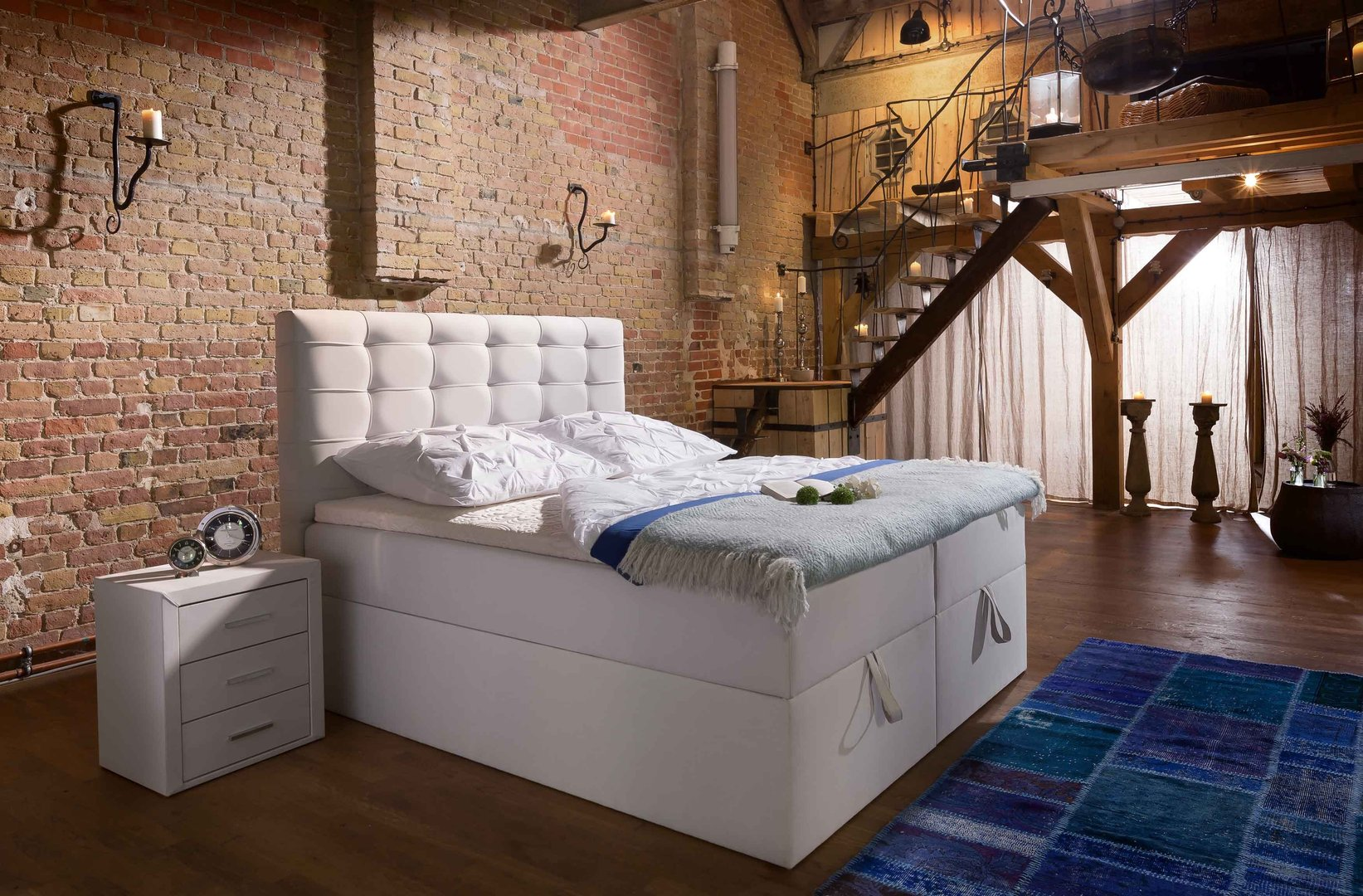 boxspringbett milano box plus mit bettkasten 90x200 140x200 160x200 200x200 ebay. Black Bedroom Furniture Sets. Home Design Ideas