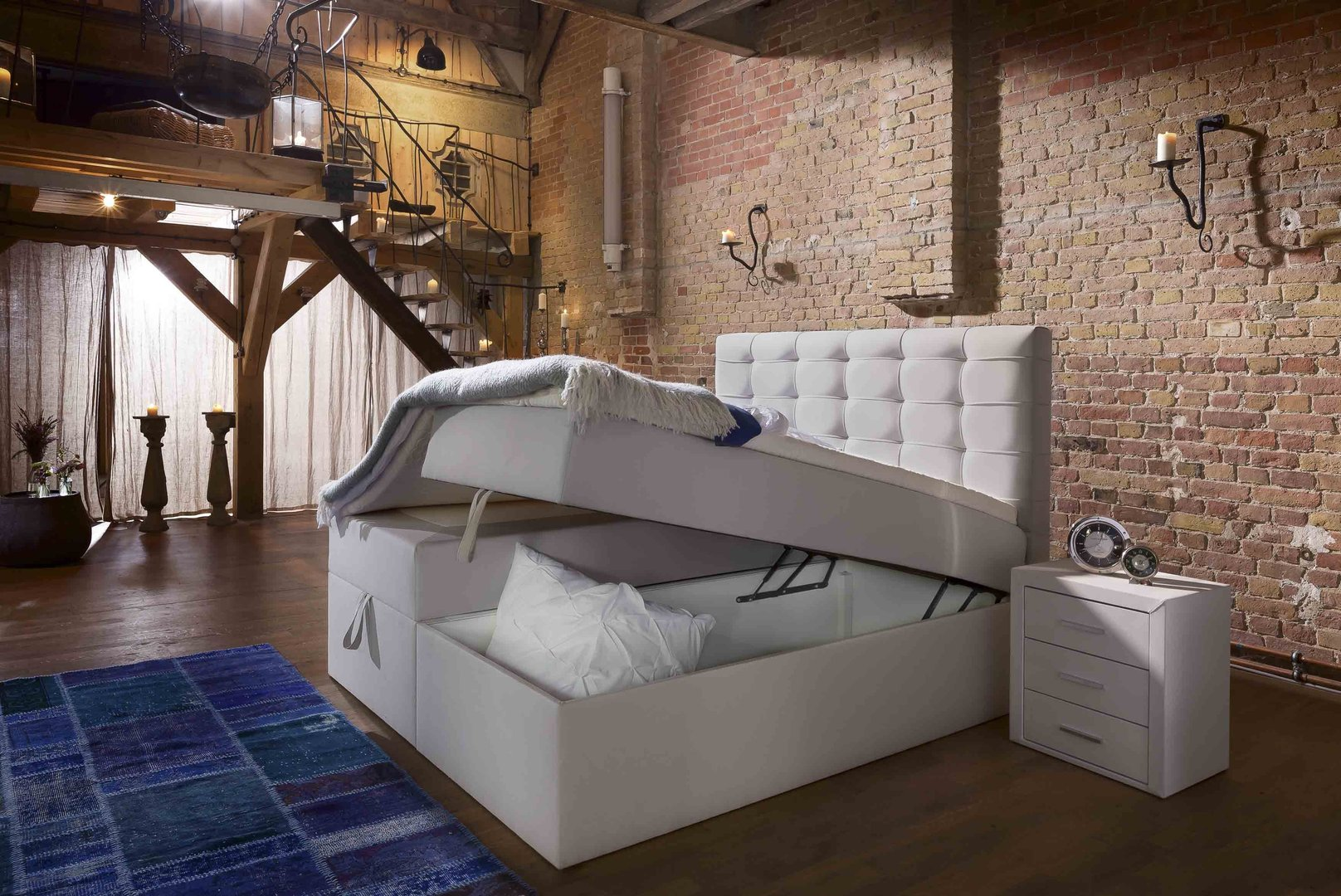 Boxspringbett 140x200 mit bettkasten  Boxspringbett Milano Box Plus mit Bettkasten-90x200,140x200 ...