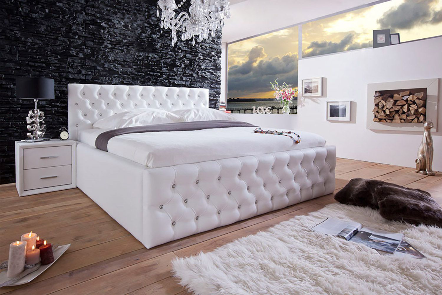 di lara polsterbett dubai mit bettkasten 140x200 160x200 180x200 200x200 ebay. Black Bedroom Furniture Sets. Home Design Ideas