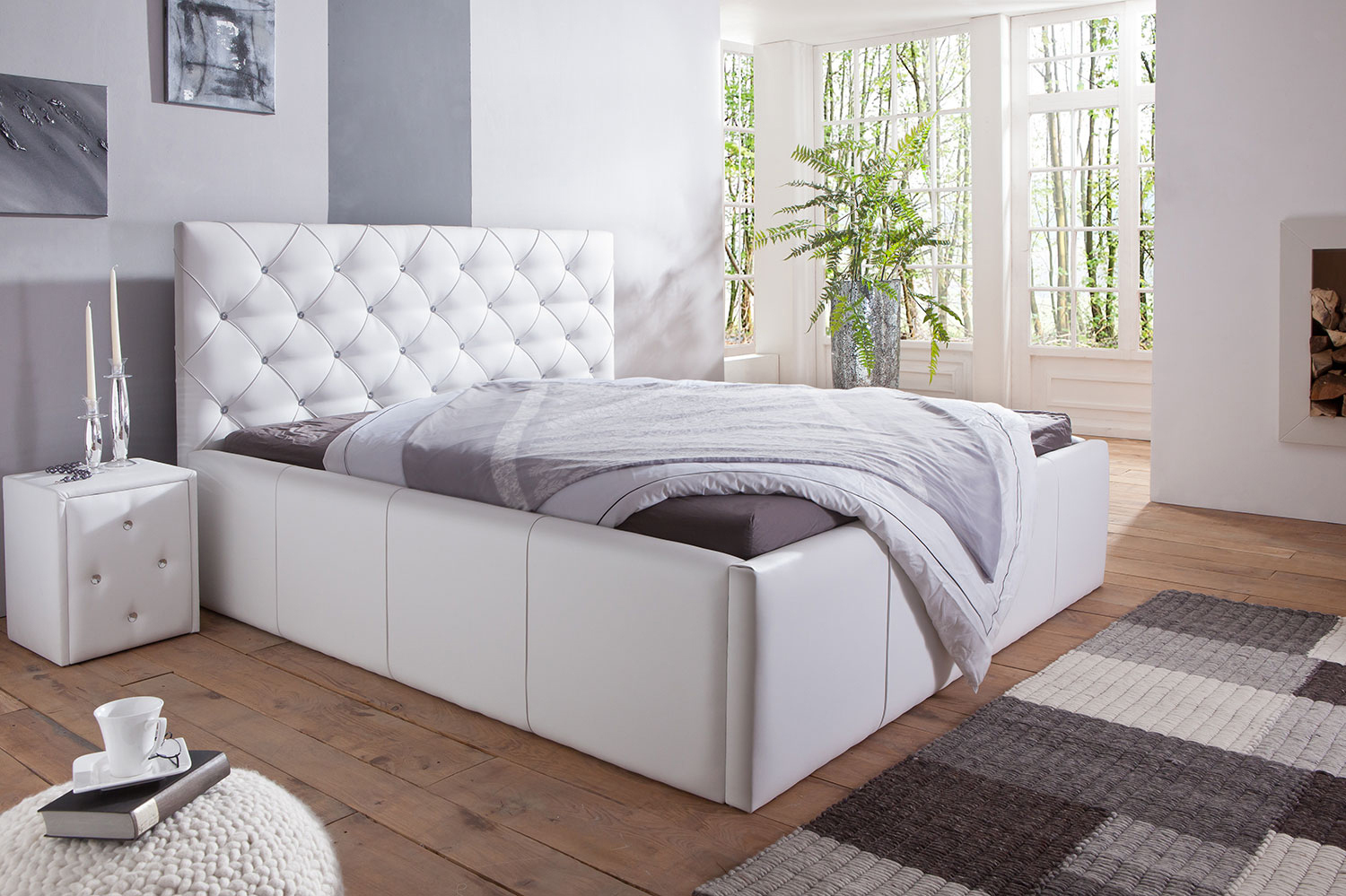 di lara polsterbett kairo mit bettkasten 140x200 160x200 180x200 200x200 ebay. Black Bedroom Furniture Sets. Home Design Ideas