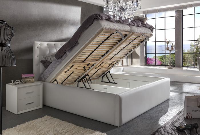 di lara polsterbett las vegas mit bettkasten und farb led ebay. Black Bedroom Furniture Sets. Home Design Ideas
