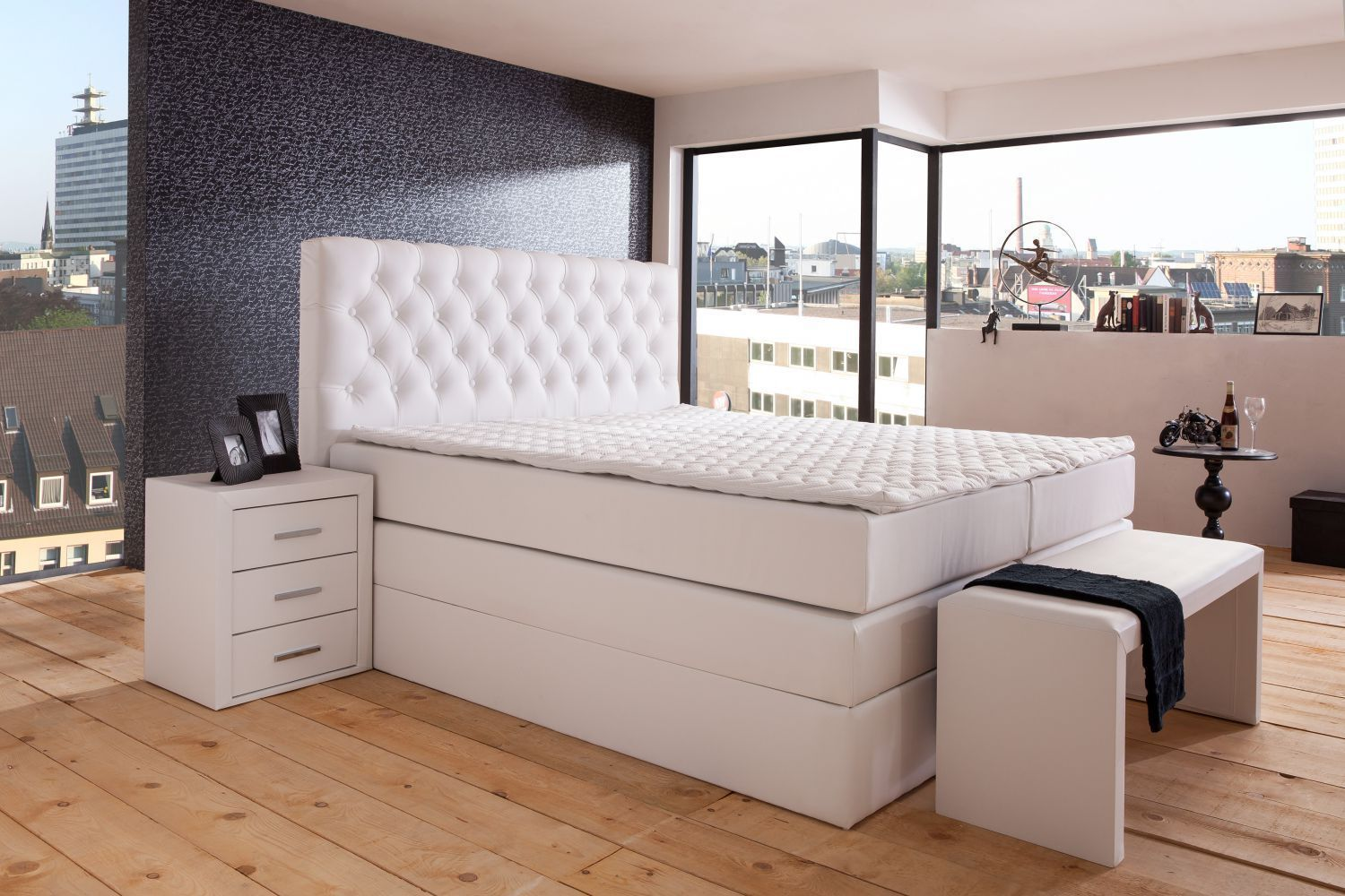 boxspringbett st tropez box mit bettkasten 140x200 160x200 180x200 cm ebay. Black Bedroom Furniture Sets. Home Design Ideas