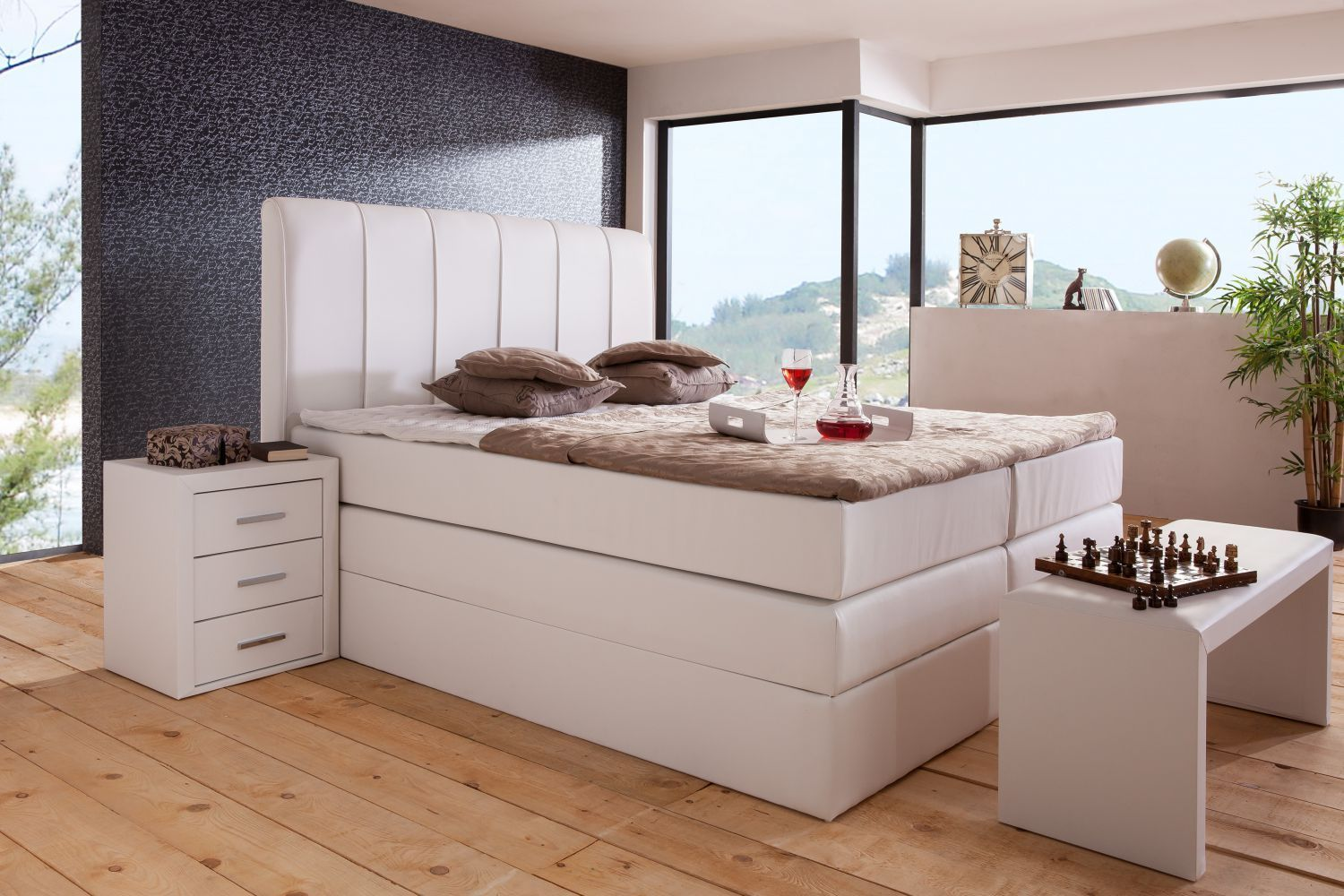 boxspringbett sevilla box mit bettkasten 140x200 160x200 180x200 cm ebay. Black Bedroom Furniture Sets. Home Design Ideas