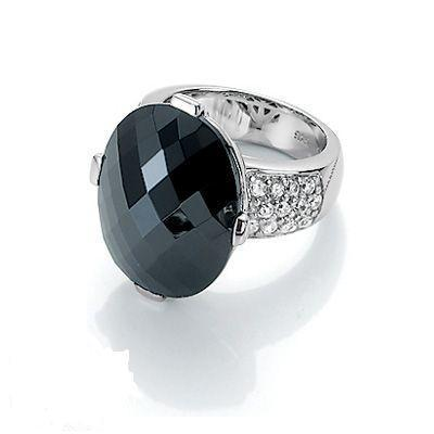 Giorgio Martello Ring schwarz mit Zirkonia Weite 60