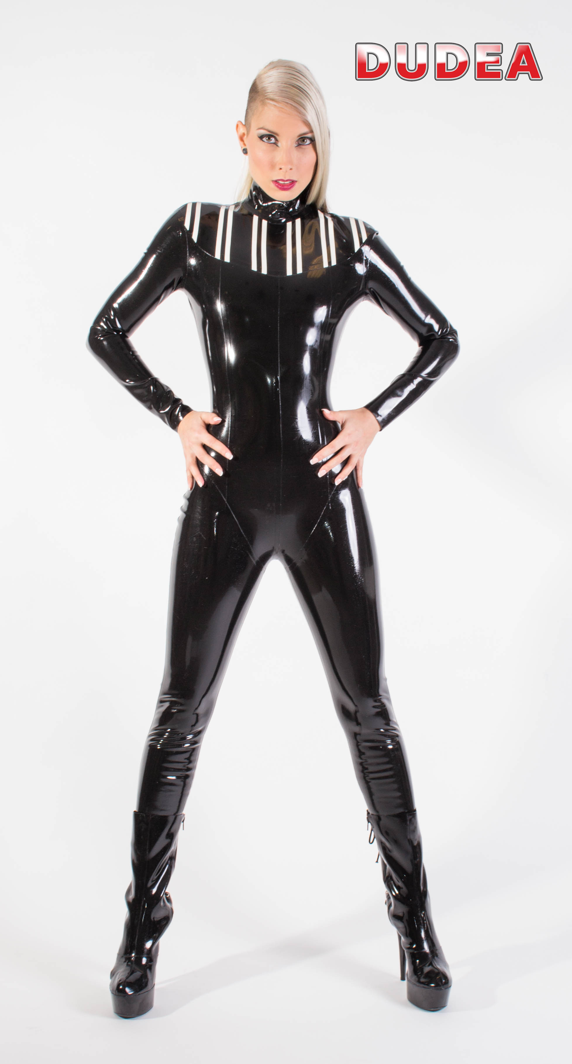 Catsuit mit Applikation am Dekolleté