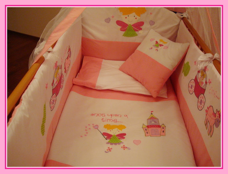 hochwertige baby bettset h bsche stickerei fee rosa 8 t ebay. Black Bedroom Furniture Sets. Home Design Ideas