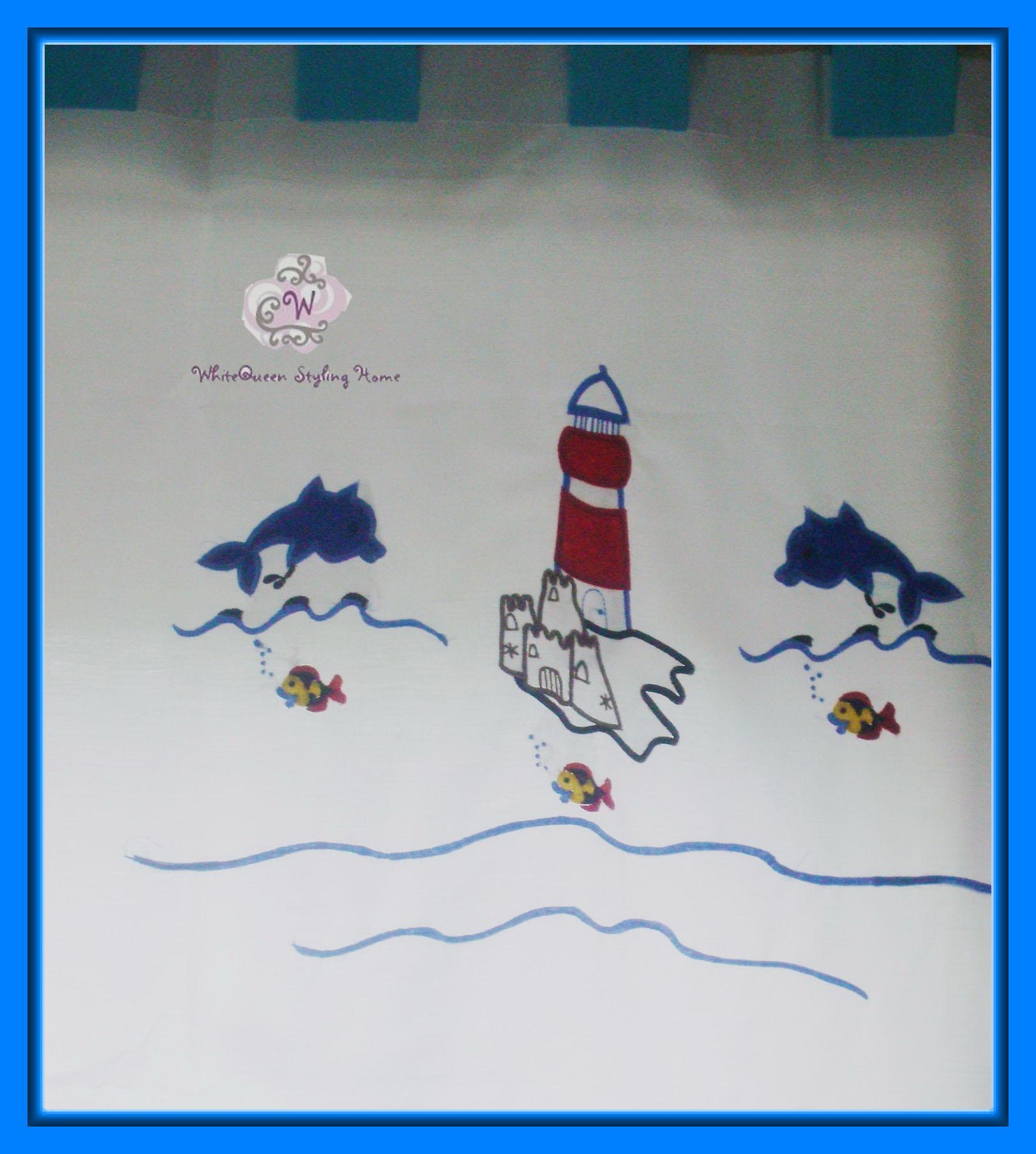 Baby kinderzimmer gardine vorhang set delfin leuchtturm for Store kinderzimmer