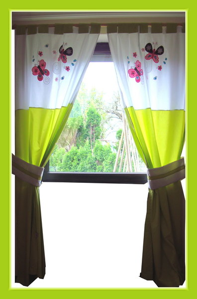 baby kinderzimmer vorhang gardine schmetterlinge gr n girly butterfly curtains ebay. Black Bedroom Furniture Sets. Home Design Ideas
