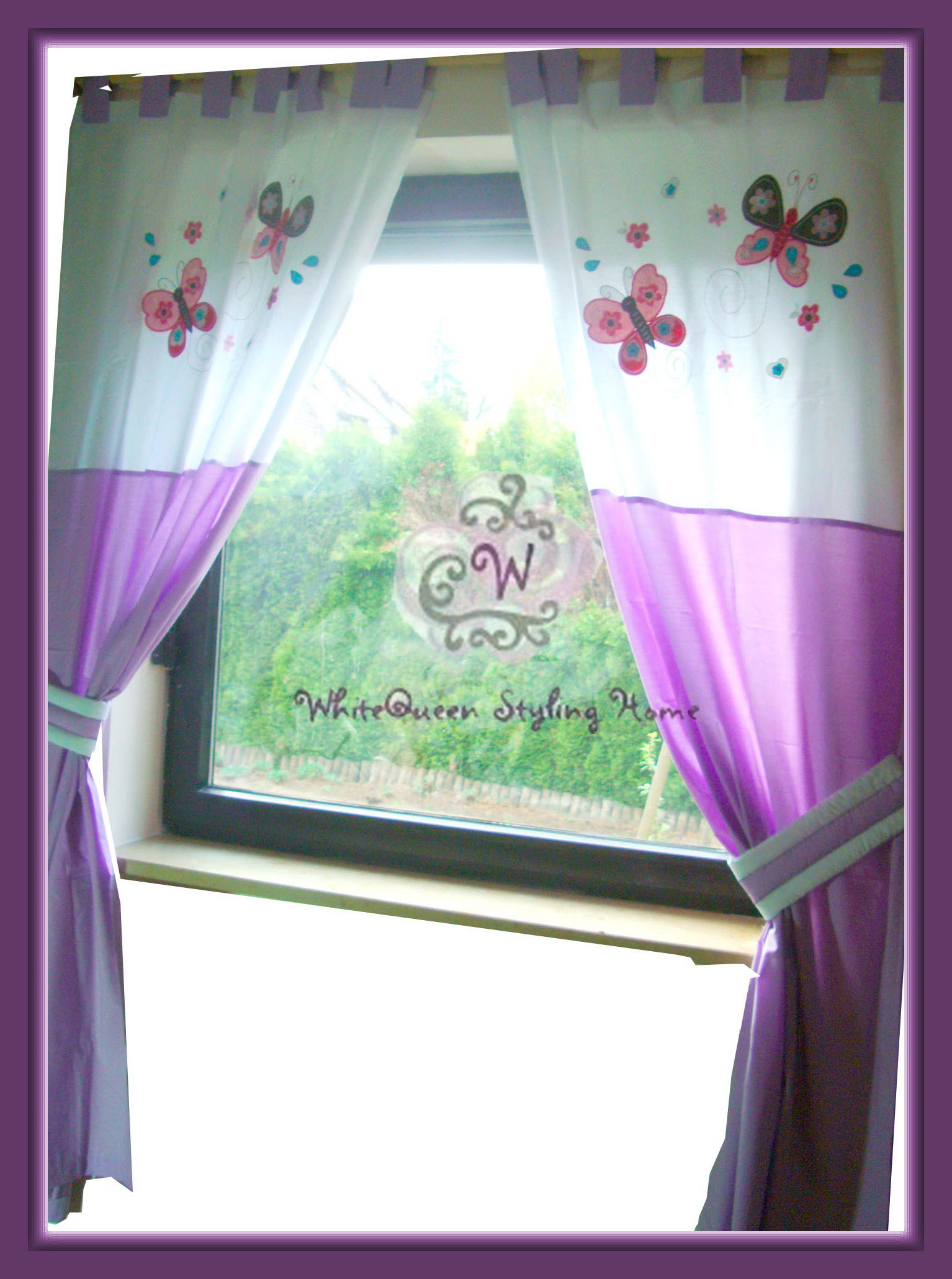 baby kinderzimmer vorhang gardine schmetterlinge l la girly butterfly curtains ebay. Black Bedroom Furniture Sets. Home Design Ideas