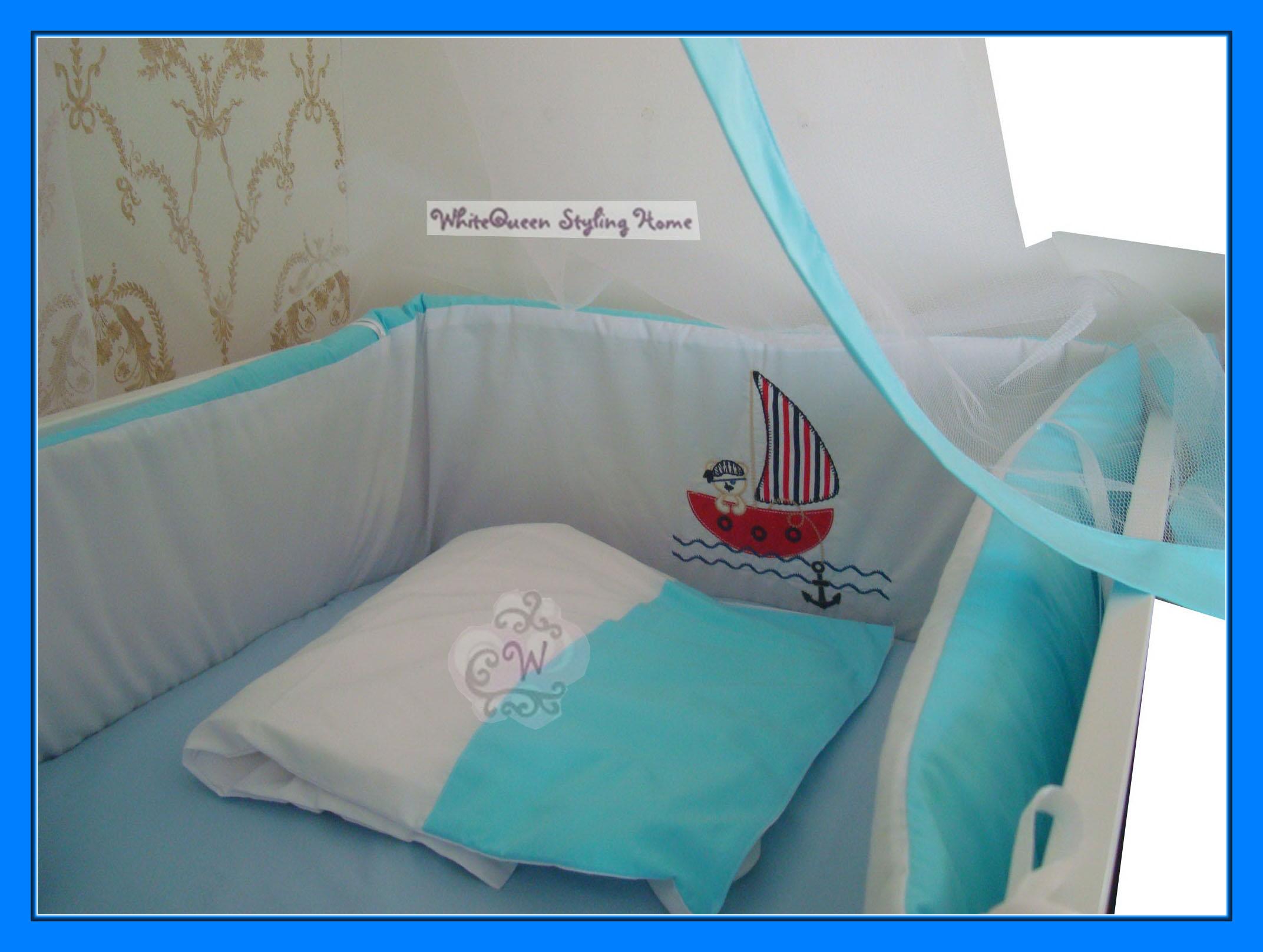 hochwertiges baby bettset sailor bettw sche nestchen betthimmel windelsack blau ebay. Black Bedroom Furniture Sets. Home Design Ideas