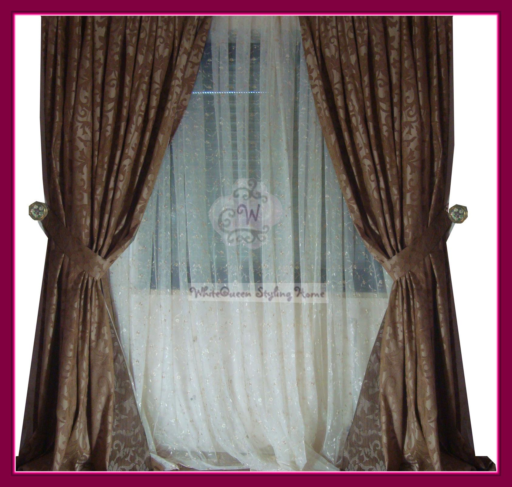 klassisch 2 x dekoschal vorhang taft braun beige ranken ebay. Black Bedroom Furniture Sets. Home Design Ideas