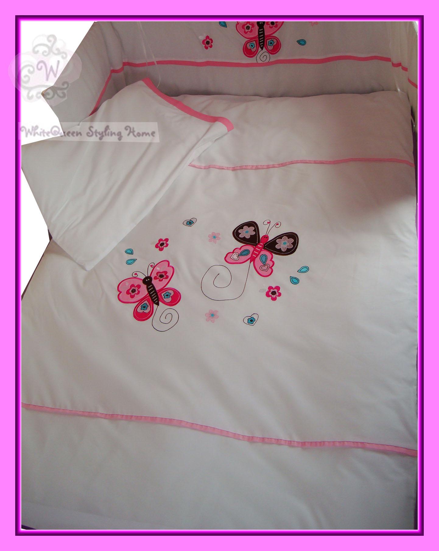 baby bettw sche set schmetterlinge blumen herzen rosa butterfly duvet cover ebay. Black Bedroom Furniture Sets. Home Design Ideas