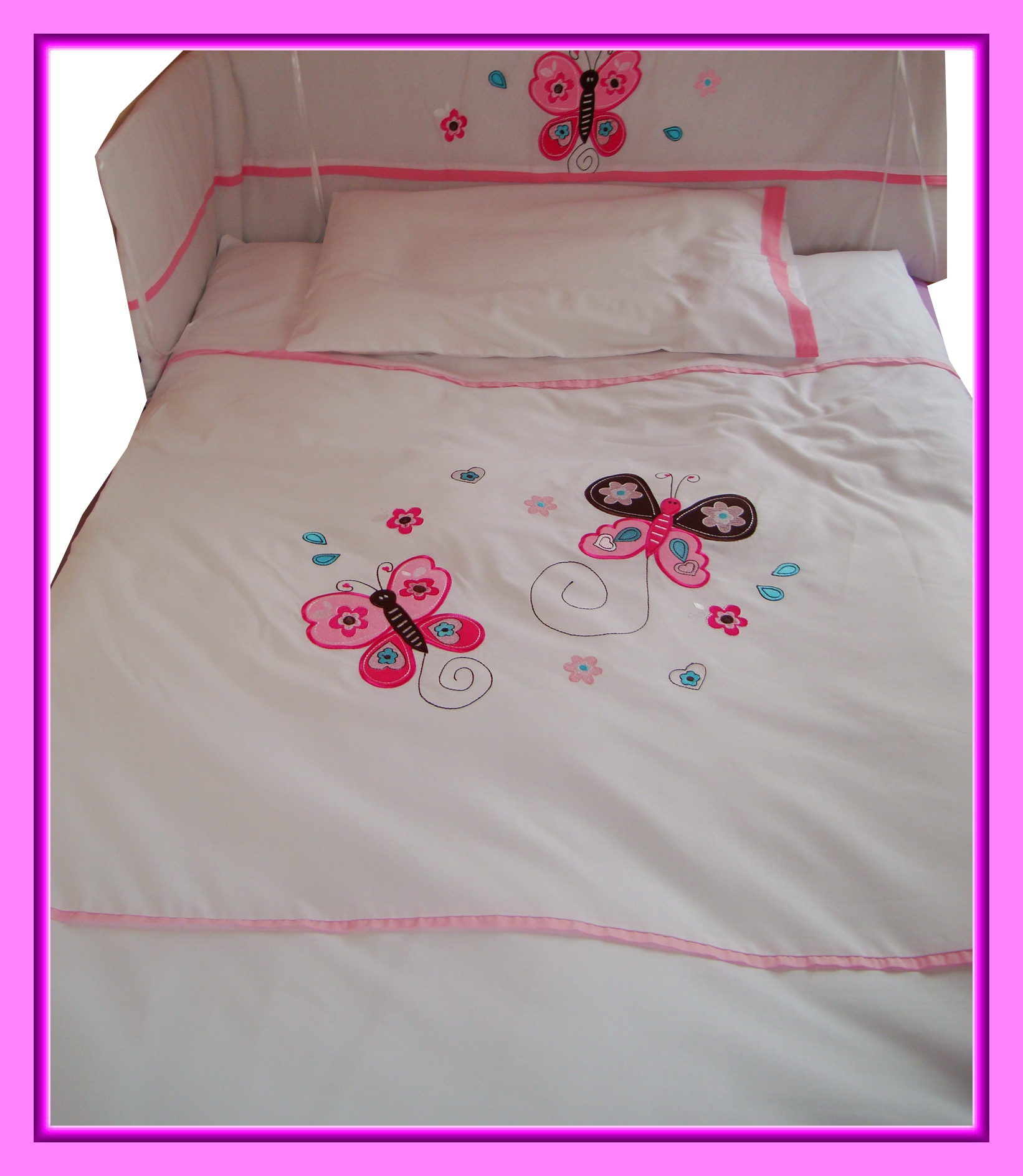 baby bettw sche set schmetterlinge blumen herzen rosa butterfly duvet cover ebay. Black Bedroom Furniture Sets. Home Design Ideas