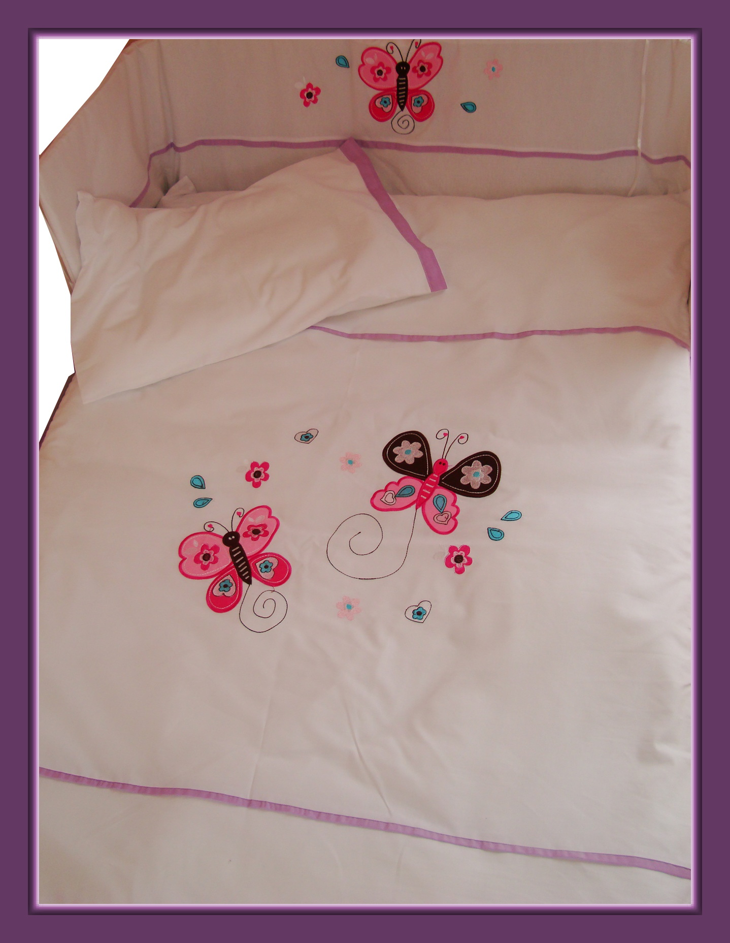 baby bettw sche set schmetterlinge blumen herzen lila butterfly duvet cover ebay. Black Bedroom Furniture Sets. Home Design Ideas