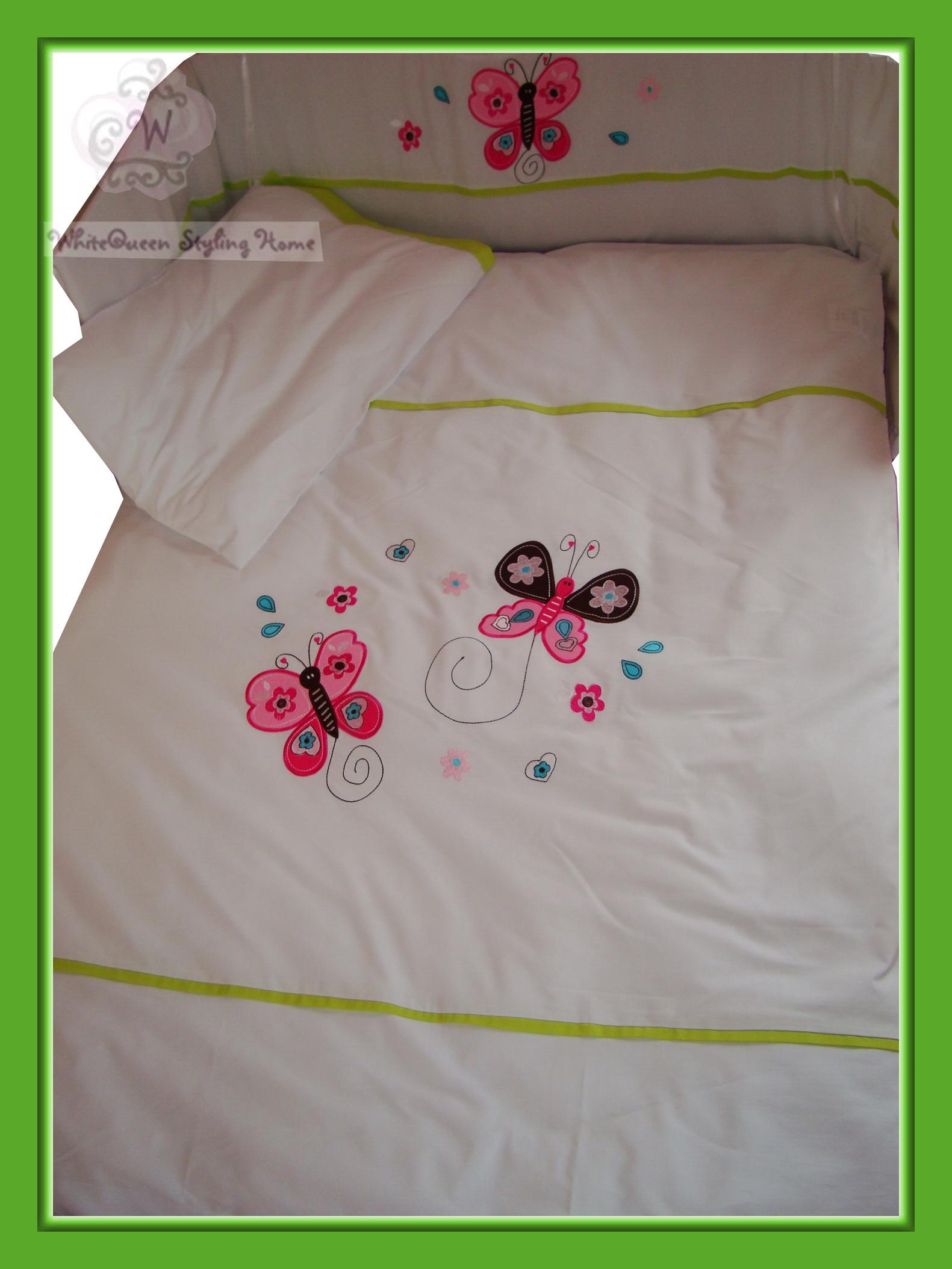 baby bettw sche set schmetterlinge blumen herzen gr n butterfly duvet cover ebay. Black Bedroom Furniture Sets. Home Design Ideas