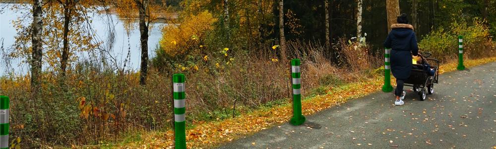 UvV Flexipfosten in grün Anwendungsbild