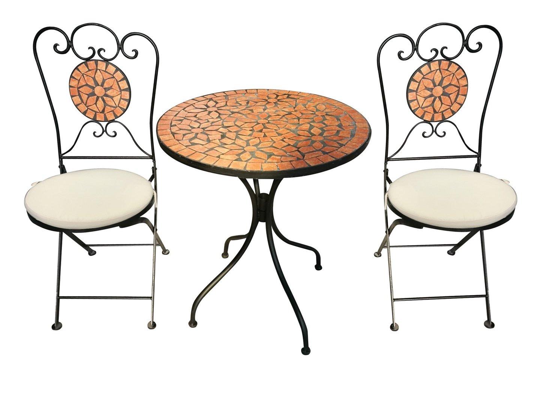 Bistro Set Eisen Gartengruppe Sitzgruppe Stuhl Tisch Mosaik Klappbar