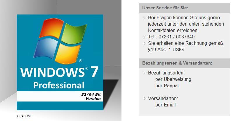 Microsoft windows 7 professional oem key deutsch 32 64 bit win 10