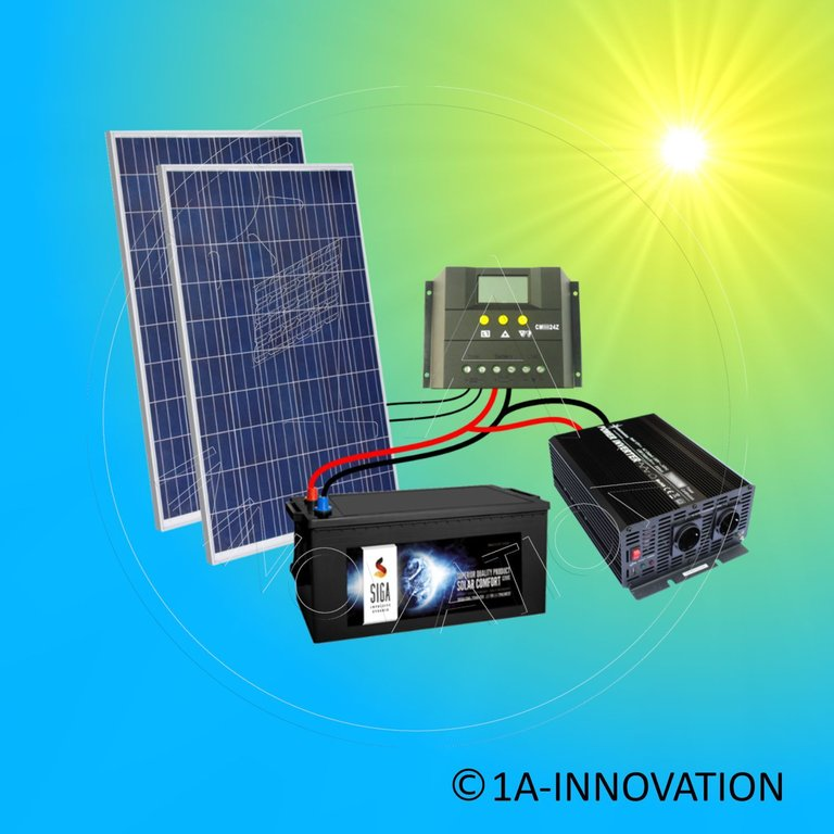 solaranlage komplettpaket 220v akku 280ah 500w solarpanel 1000w camping watt ebay. Black Bedroom Furniture Sets. Home Design Ideas