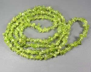 Precious stone splinter necklace Peridot