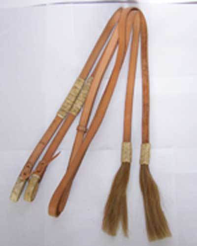 Showreins with raw skin and tassels