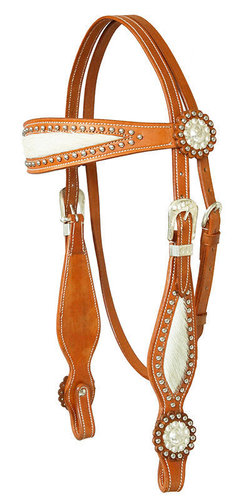 Western bridle with fur trim