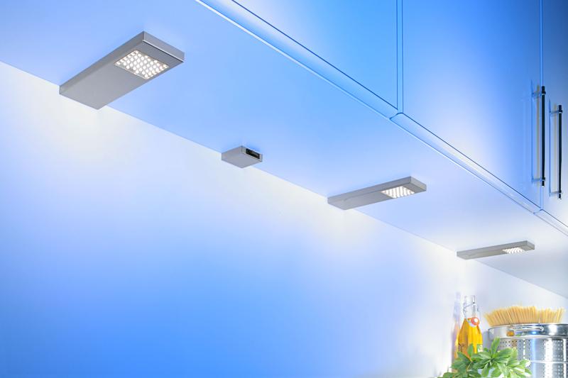 SET 2 inkl THEBO LED 91 Tadeo 3 in EDELSTAHL U... Leuchte mit Hauptschalter