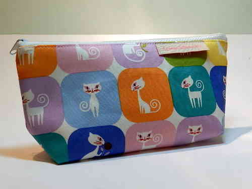 pencil case cotton fabric - KITTY CAT / CATS