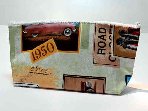 pencil case waxed fabric OLDTIMERS / OLD CARS