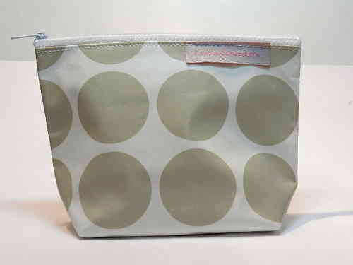 small make-up bag waxed fabric BIG DOTS BEIGE