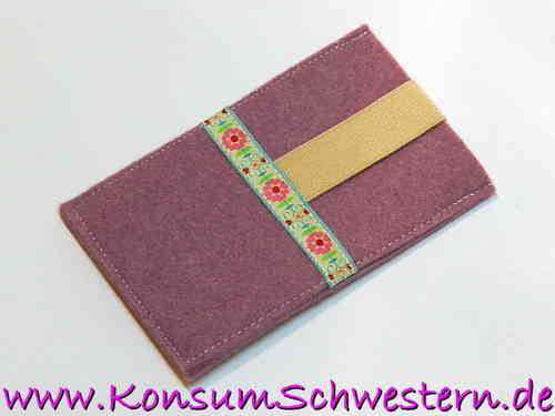 smartphone cover felt purple - FLOWERS - cell