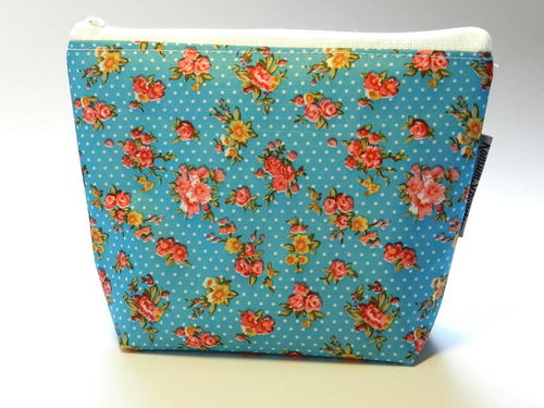 "small make-up bag ""ROSES TURQUOIS"" PVC Ripstop"