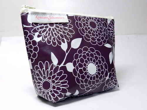 small make-up bag FLOWER ON PURPLE waxed cloth