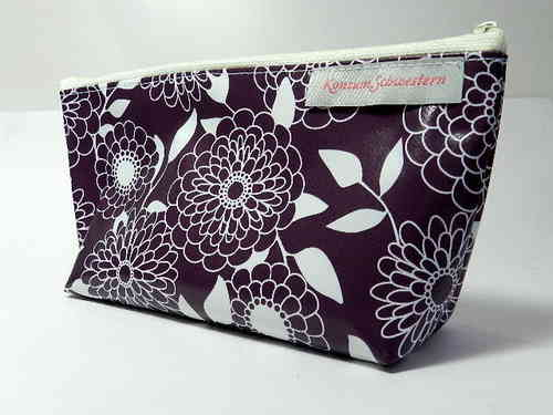 "pencil case ""FLOWERS ON PURPLE"" waxed cloth"