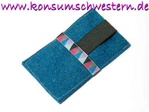 smartphone cover felt - PENNANTS GREY turquois