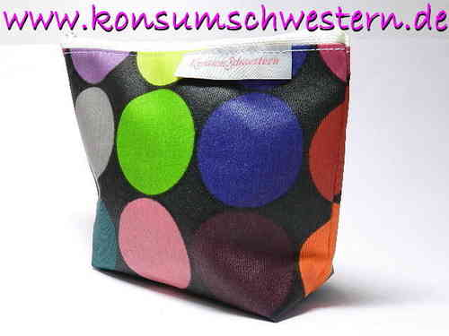 small make-up bag - HAPPY DOTS ON BLACK coated