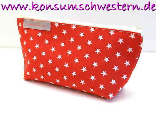 pencil case cotton fabric - STARS ON RED