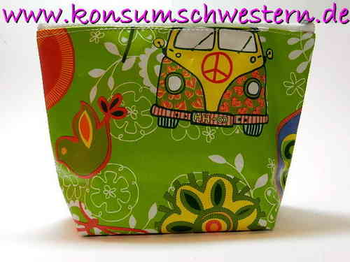 small make-up bag - HIPPIE BUS AND PEACE waxed